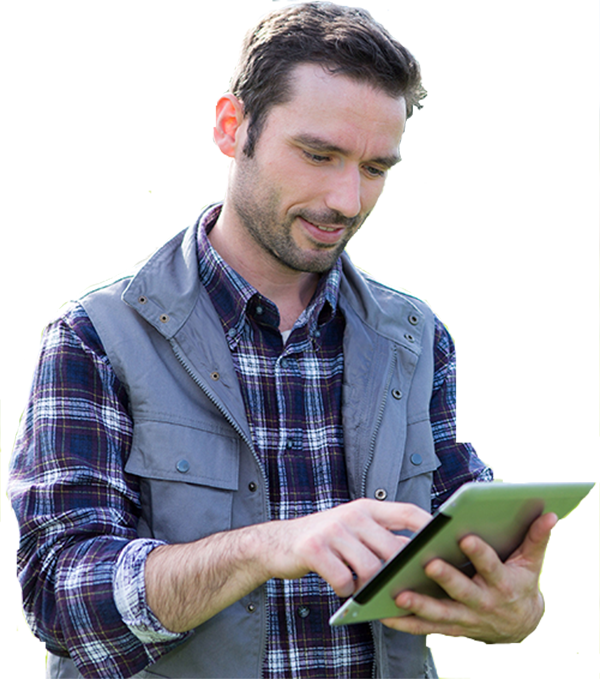 Image of a farmer using a smart device